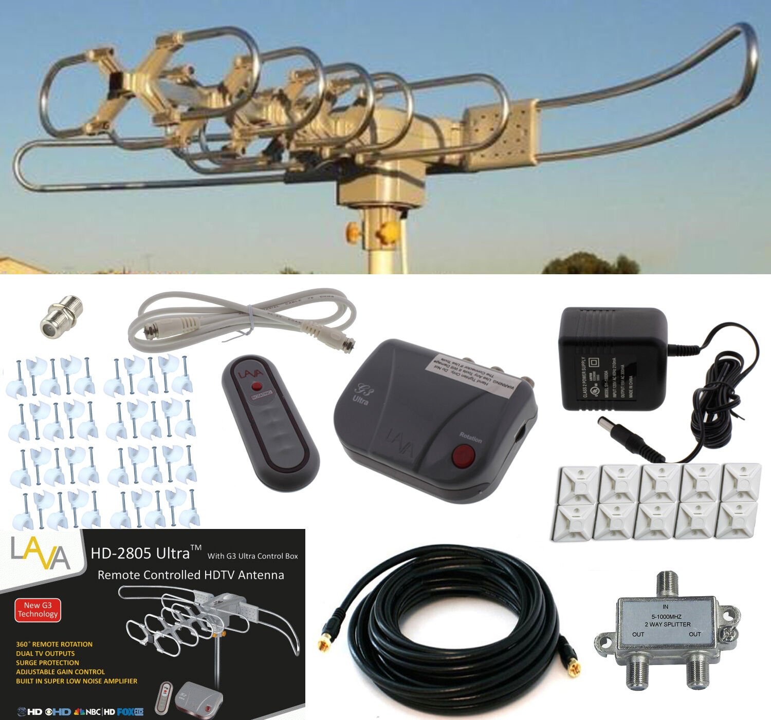 LAVA HD2805 HDTV DIGITAL ROTOR AMPLIFIED OUTDOOR TV ANTENNA CABLE Install Kit. Available Now for 69.95