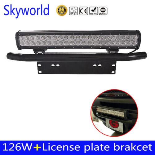 """20/"""" 126W LED Light Bar+23/'/' Number Bumper License Plate Mount Bracket Holder"""