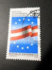 AUTRICHE 1986, timbre 1671, ADHESION CONSEIL EUROPE, DRAPEAU, oblitéré, VF STAMP