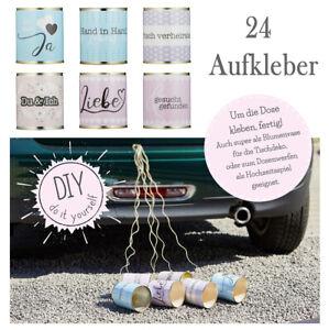 Aufkleber-Hochzeitdosen-24-Etiketten-Brautauto-Schmuck-Hochzeit-Dekoration