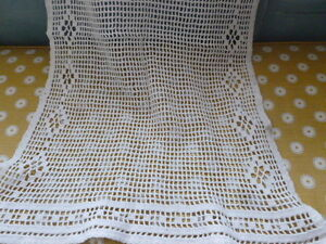 Vintage white crochet cotton curtain panel fabric Victorian lace textile - <span itemprop='availableAtOrFrom'>Hailsham, East Sussex, United Kingdom</span> - Vintage white crochet cotton curtain panel fabric Victorian lace textile - Hailsham, East Sussex, United Kingdom