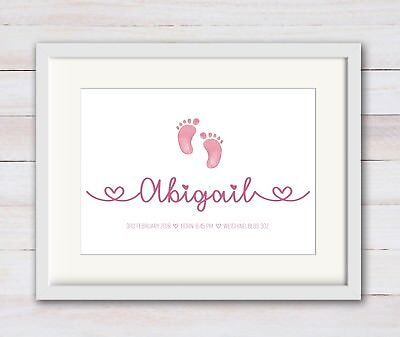 Girl Boy New Birth Newborn Personalised New Baby Print Christening  Nursery Art
