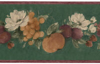 Rustic Country Kitchen Fruit Floral Grape Rose Apple Green Wallpaper Wall Border