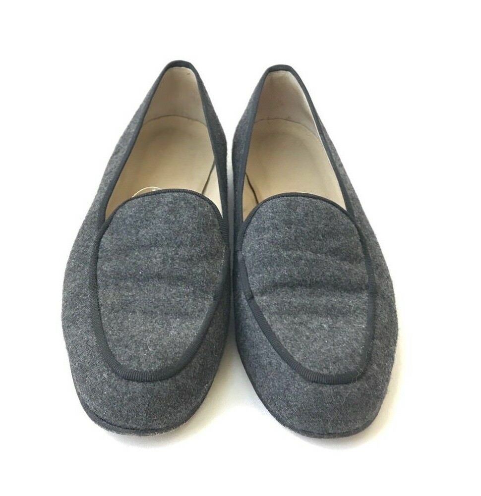 Stubbs & Wootton Size 6 Grigio Wool Round-Toe Loafers