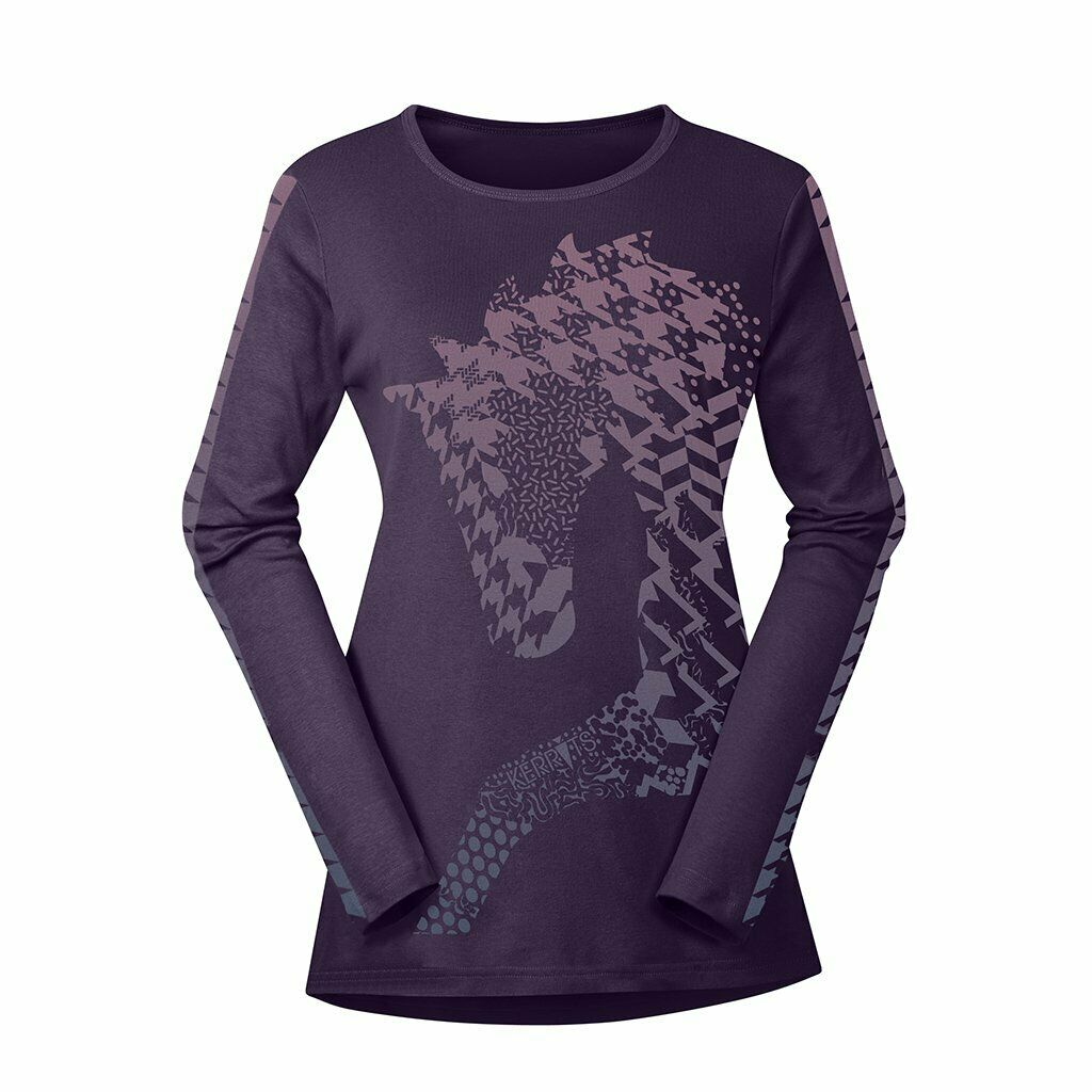 Kerrits Nordic Horse Long Sleeve Equestrian T-Shirt Top NWT -Kids Medium