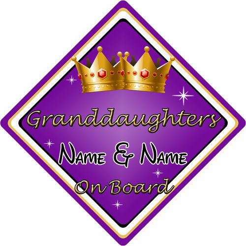 Personalised Child//Baby On Board Car Sign ~ Granddaughters On Board ~ Purple
