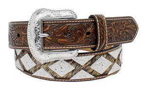 Nocona Western Mens Belt Leather Hair Diamond Conchos Tan N2509408