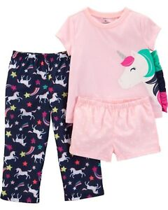 66153a7c59c6a Neuf Carter s Filles 3 Pièces Pyjamas Licorne Mane Rainbow Set avec ...