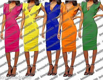 nEW Celebrity Club party OPEN BACK Ruffle slim fit MIDI calf bodycoN DRESS S-2XL