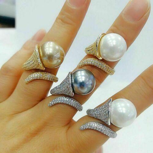 Lily Flor Perla Pila Cuentas Bohemio Cubic Zircon Finger Rings Para Mujeres Regalo