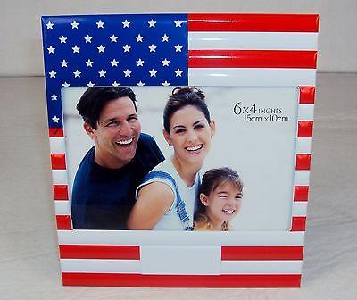 "6/"" X 4/""  Desktop American Flag Photo Frame ~ Horizontal Stars /& Stripes ~ FR-750"