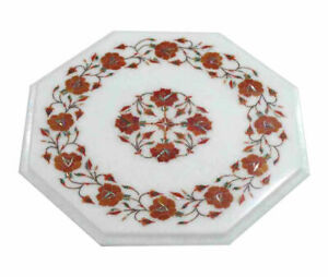 White Marble Coffee Center Table Top Marquetry Carnelian Floral Inlay Home Decor
