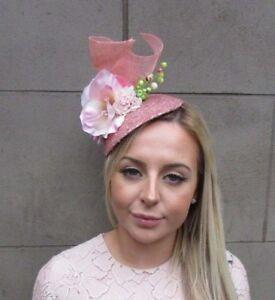 Large rose gold blush pink flower hat fascinator headband races image is loading large rose gold blush pink flower hat fascinator mightylinksfo
