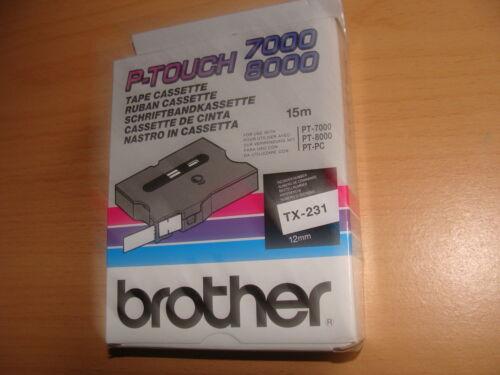 TX-231 Schriftband Brother schwarz weiß 12mm 15m PT7000 PT8000,PT-PC MwSt