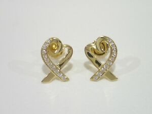 TIFFANY-amp-CO-18k-yellow-gold-Loving-Heart-with-diamonds-stud-earrings