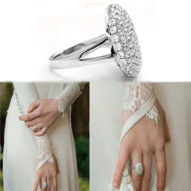 Glaring Women's Wedding Rings Engagement Ring Silver Crystal Jewelry Size 6-10