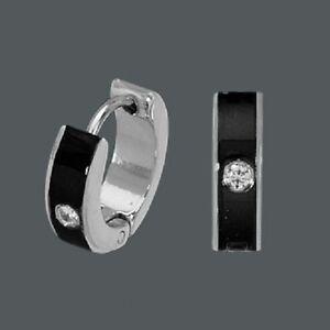 Das Bild wird geladen Titan-Titanium-Klappcreolen-Ohrringe -Zirkonia-Onyx-schwarz-Silber- 5975ec7f49