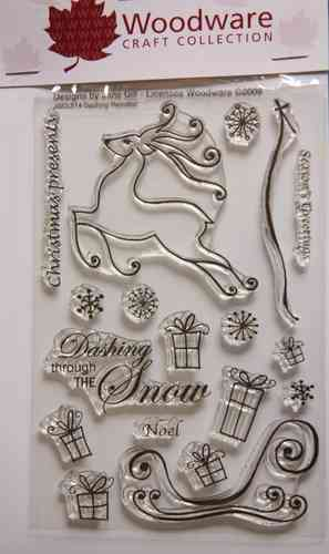 NEW Woodware 'Dashing Reindeer' Christmas Clear Stamp Set JGCL514;Fast & Free📦