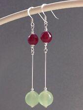 Beautiful Pale Round Jade & Faceted Garnet Gemstones Sterling Silver Earrings