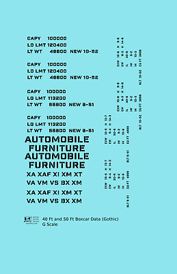 K4 G 1:29 Decals White 40 To 50 Ft Boxcar Dimensional Data Set Roman Font