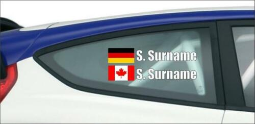 2X Custom Racing Name Any Flags Car Truck Window Vinyl Sticker JDM Rally Drift