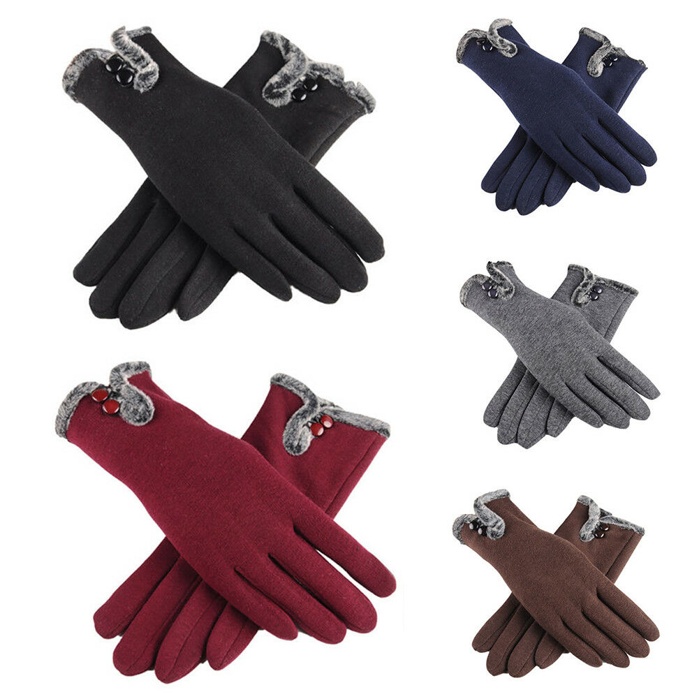 Winter Warm Glove Women Ladies Fleece Lined Thermal Button Touch Screen Gloves