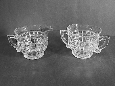 MARKED HEISEY #1425 VICTORIAN PATTERN FOOTED OPEN CREAMER & SUGAR BOWL