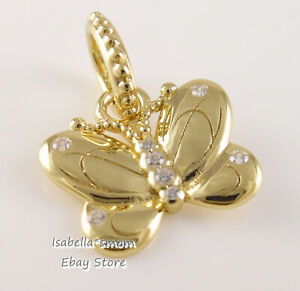 DECORATIVE BUTTERFLY Authentic PANDORA SHINE Yellow GOLD Plated ...