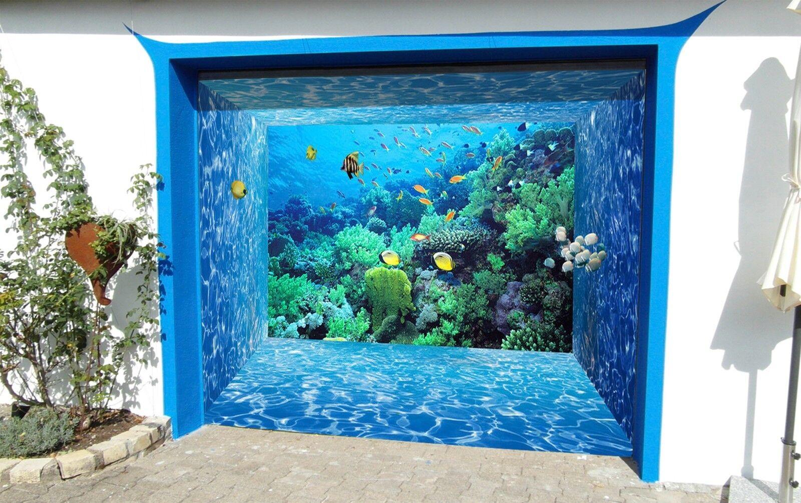 3D Coral, fish 3 Garage Door Murals Wall Print Decal Wall Deco AJ WALLPAPER UK