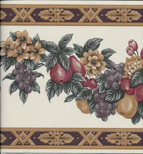 Victorian Fruit Drapery with Purple and Tan Architectural Trim WALLPAPER BORDER