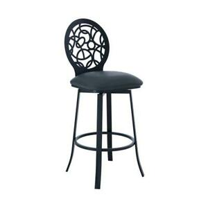 Awe Inspiring Details About Lotus Faux Leather 26 Bar Stool In Matte Black And Gray Onthecornerstone Fun Painted Chair Ideas Images Onthecornerstoneorg