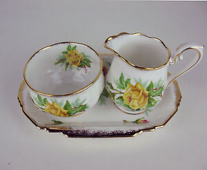 Creamer-amp-Sugar-Bowl-w-Rectangular-Regal-Tray-Royal-Albert-Yellow-Tea-Rose