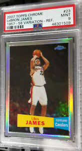 2007-08-Topps-Chrome-LeBron-James-Refractor-57-58-Var-PSA-9-Mint