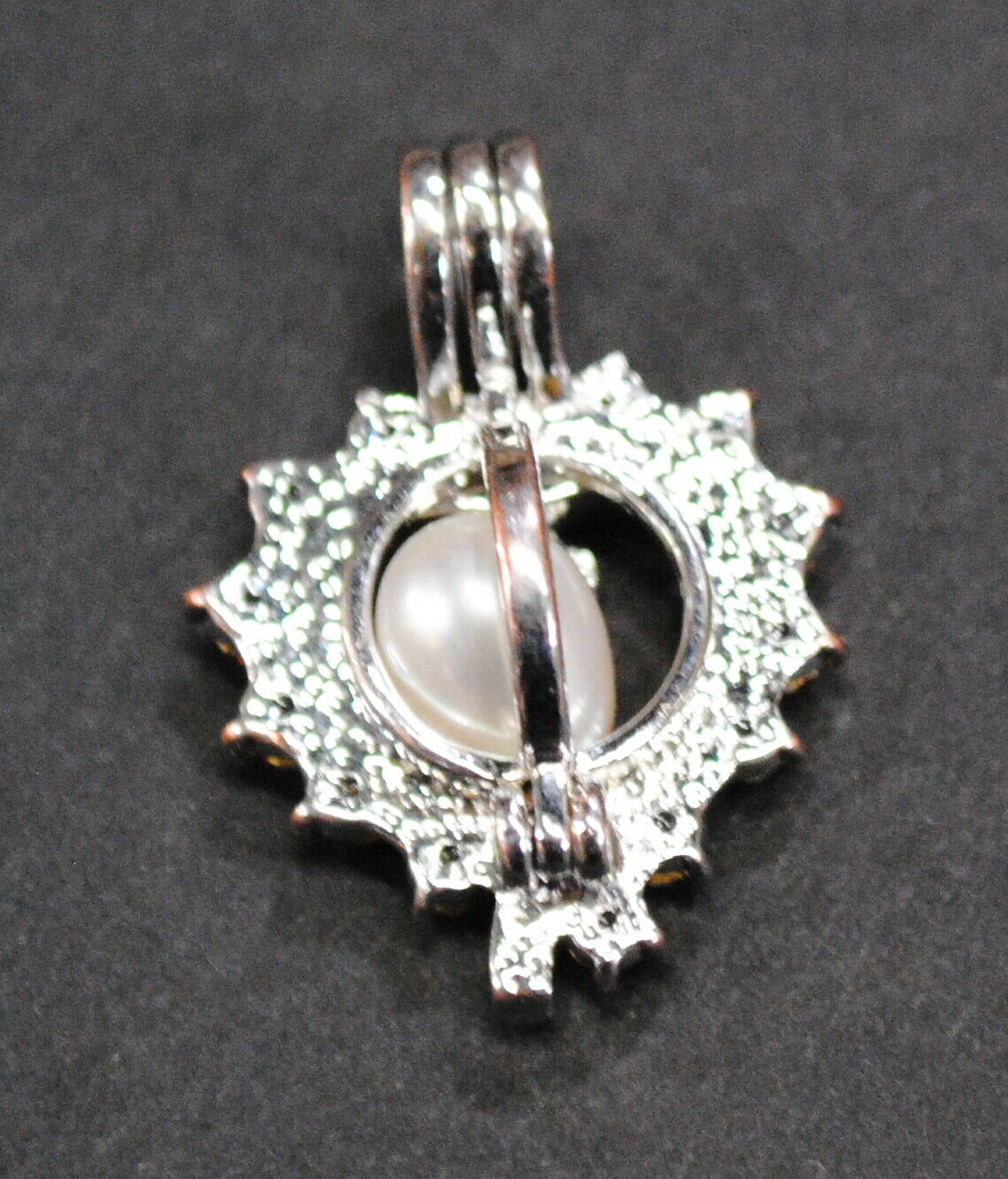 Vintage Silver Pendant Heart Charm with Pearl Flo… - image 2