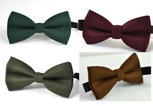 Emerald-Green-Burgundy-Army-Green-Toffee-Brown-Bow-tie-for-Men-Youth-Boy
