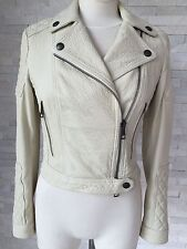 Burberry Brit White Pebbled Leather Cropped Moto Biker Motorcycle Jacket size 4