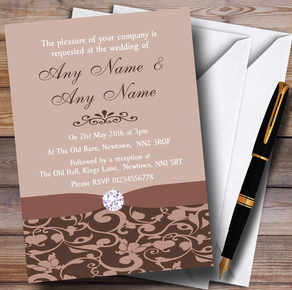 marrón y Fawn Vintage floral del damasco Diamante Personalizado Invitaciones De Boda