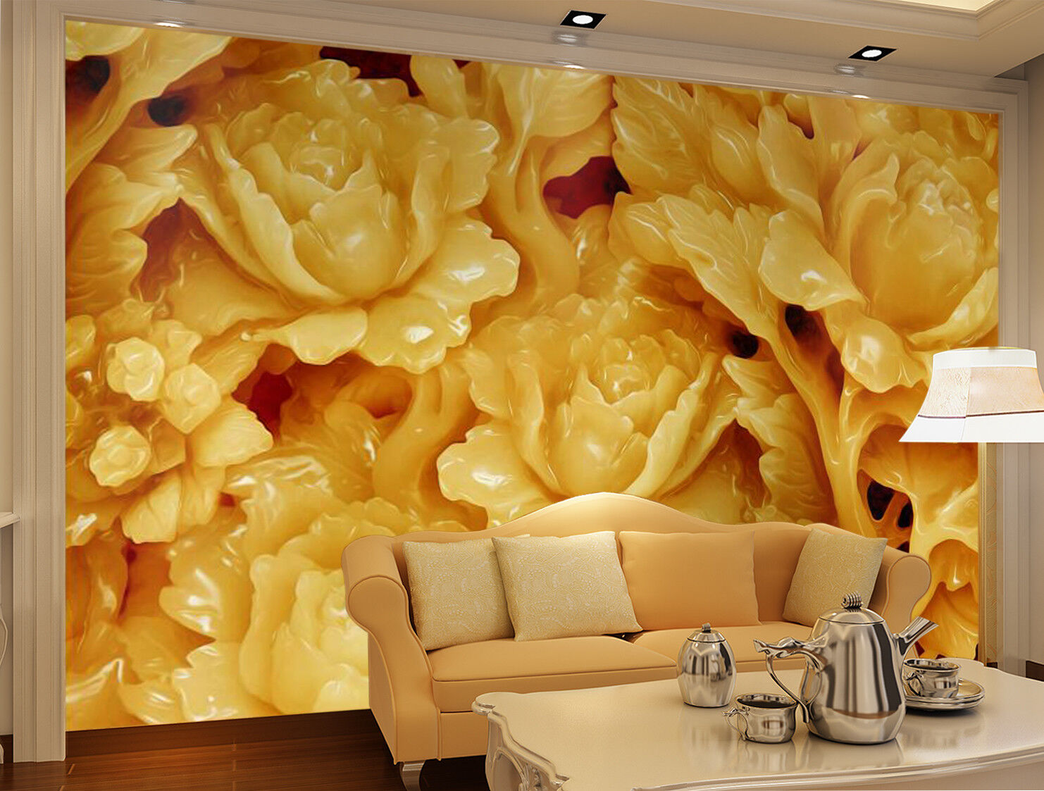 3D Golden Flower 87 Wallpaper Mural Wall Print Wall Wallpaper Murals US Carly