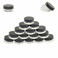 50 Pcs 3ml Cosmetic Empty Jar Eye Shadow Makeup Cream Lip Balm Container Black