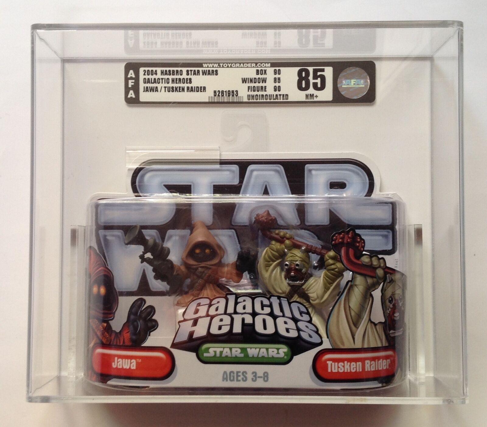 Star Wars Galactic Heroes Jawa and Tusken Raider AFA U85 NM+ Hasbro 2004