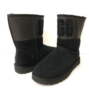 000c1317a35 Details about UGG CLASSIC SHORT RUBBER WOMEN BOOTS BLACK US 12 /UK 10 /EU 43