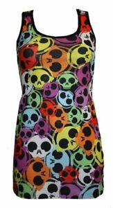 RAINBOW-MULTI-SKULLS-HEADPHONES-PRINT-LONG-VEST-TOP-SUMMER-DRESS-GOTH-PUNK-EMO