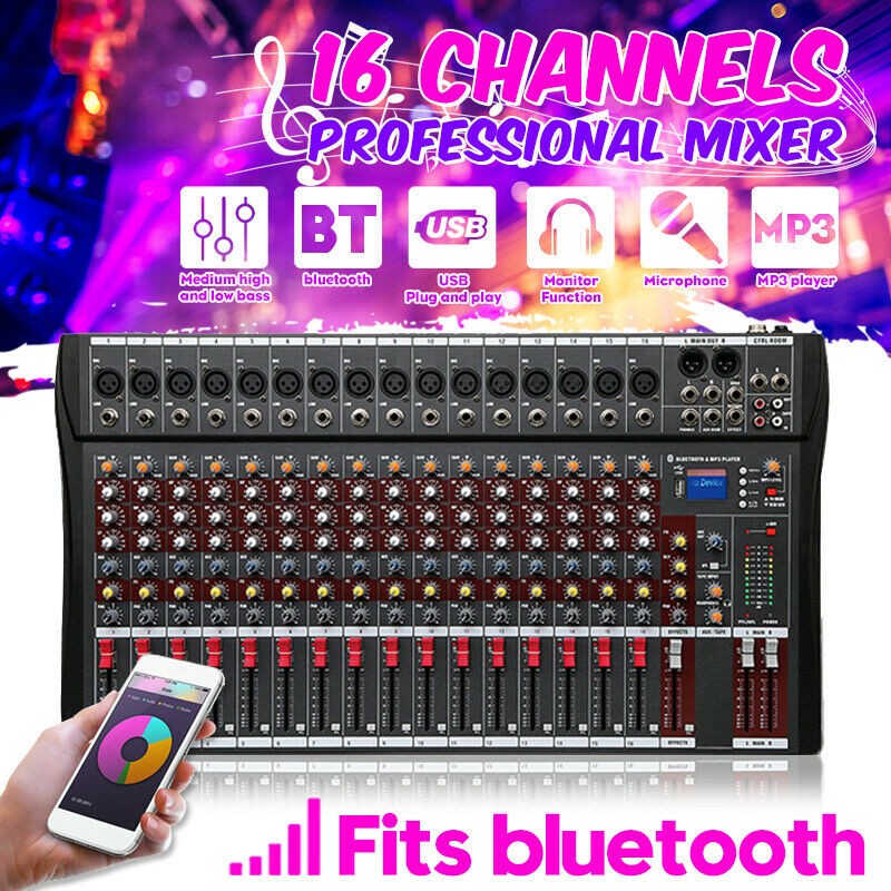 16 Channels Live Studio Audio Mixer Sound USB Mixing Console Blautooth DJ Stage