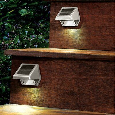 4 LED Solar Power Stairs Fence Garden Security Lamp Outdoor Waterproof Light