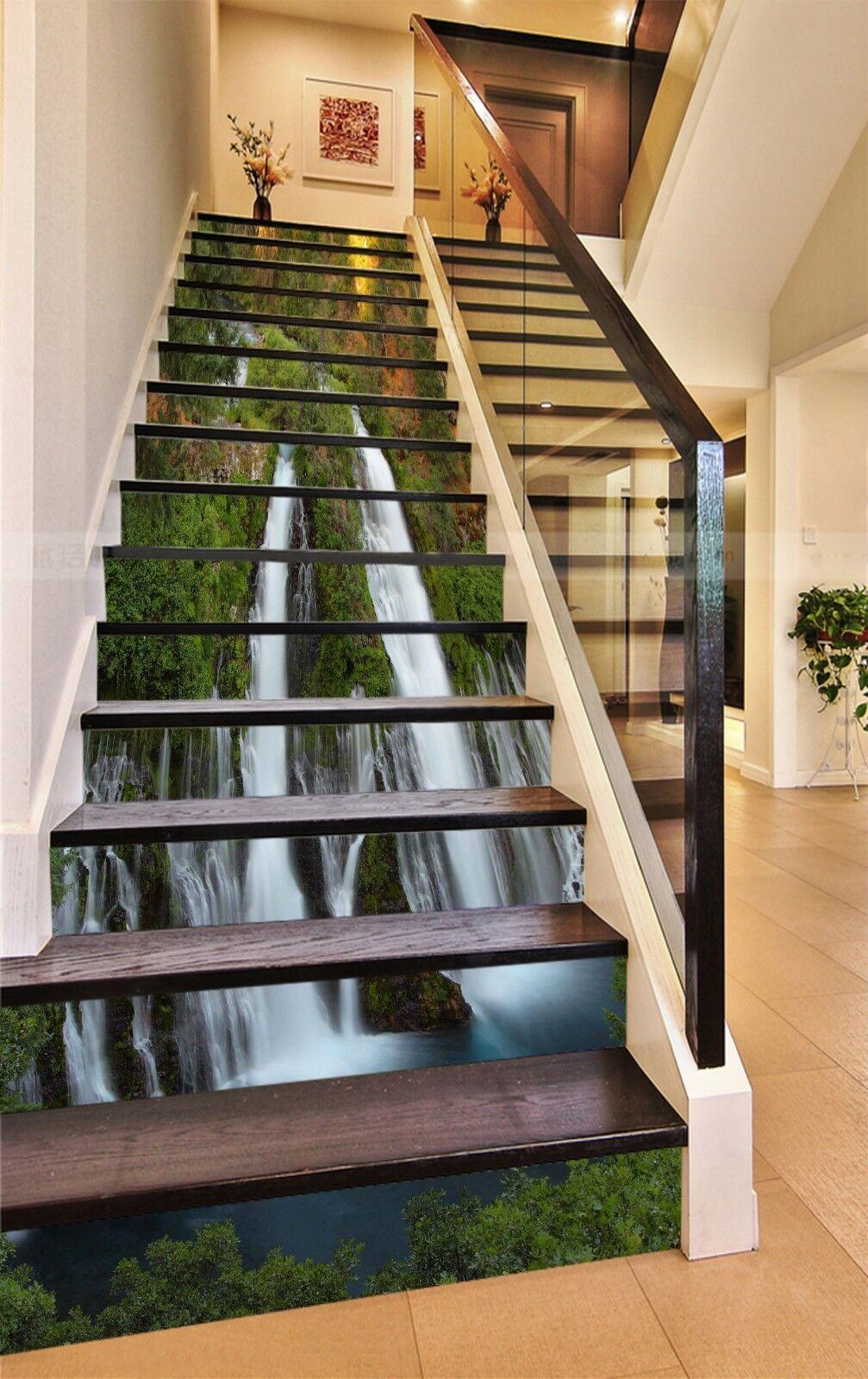 3D Wasserfall 2181 Stair Risers Dekoration Fototapete Vinyl Aufkleber Tapete DE