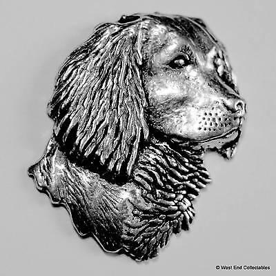 Large Spaniel Head Pewter Pin Brooch - British Hand Crafted - Gun Dog Hunting