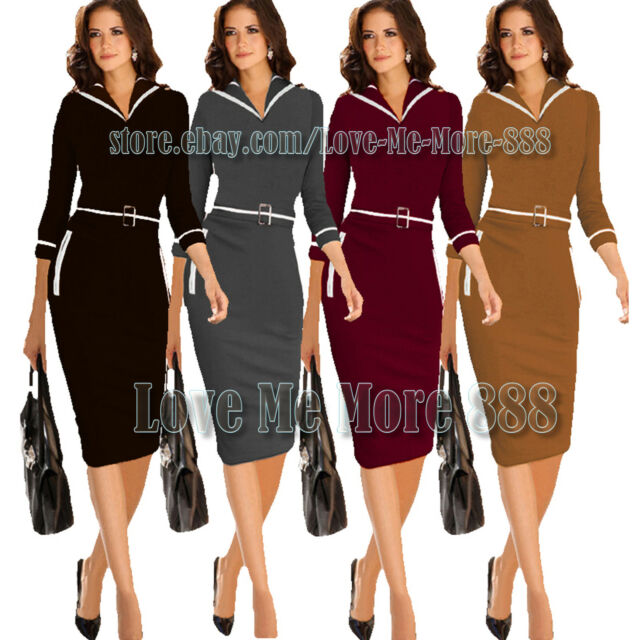 Wear to  Work Business Career Casual Sheath Slim Fit Body 3/4 Knee Dress XS-4XL
