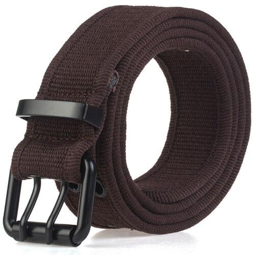 Women Men Unisex Canvas Webbing Waist Belt Adjustable Elastic With Buckle Jeans