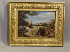 1907 Antique WATER from the SPRING Figural LANDSCAPE Folk Art OIL PAINTING Frame