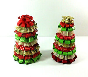 Ribbon Decorated Small Christmas Trees